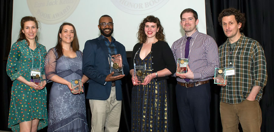 From left: Julia Sarcone-Roach, Megan Dowd Lambert, New Writer Honors; Don Tate, New Writer; Phoebe Wahl, New Illustrator; Ryan T. Higgins, Rowboat Watkins, New Illustrator Honors